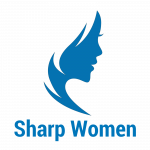 Sharp Women face logo with text (trsp, blue, 1200x1200x150dpi)